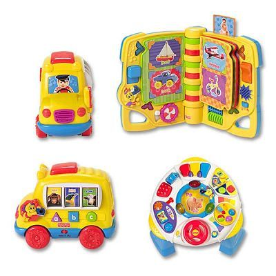 Fisher Price Toys Product Labels Showing Graphic Design and Illustration