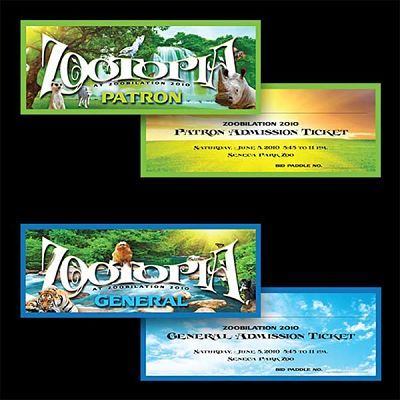 Seneca Park Zoo, Rochester, NY Graphic Design for Zoobiliation Event Tickets