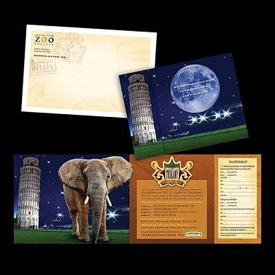 Seneca Park Zoo, Rochester, NY Graphic Design for Tuskany Invitation and Direct Mailer