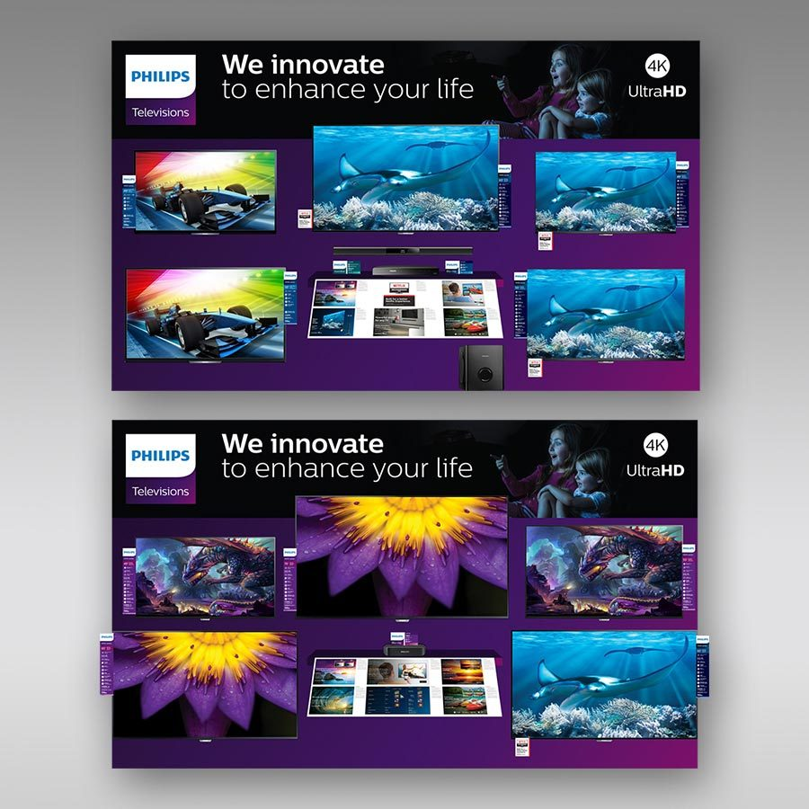 In-Store Retail Display Design for Philips TV Wall