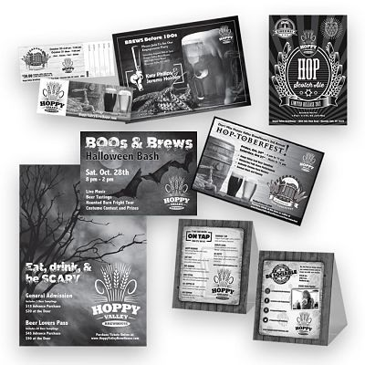 Xerox Corporation of Webster, NY Craft Brewery Brochure Design, Invitation Design, Direct Mail Postcard Design
